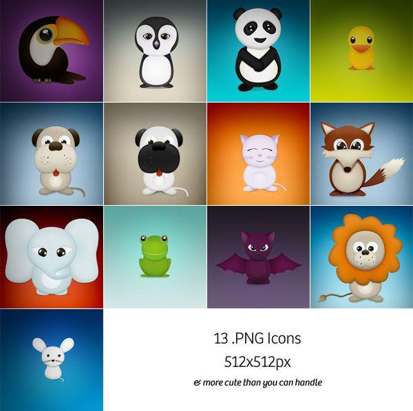 13只可爱的动物,鸟,企鹅,熊猫,小鸭,小黑狗,小黄狗,白色猫咪,狐狸,大象,青蛙,蝙蝠,狮子,老鼠图标.jpg