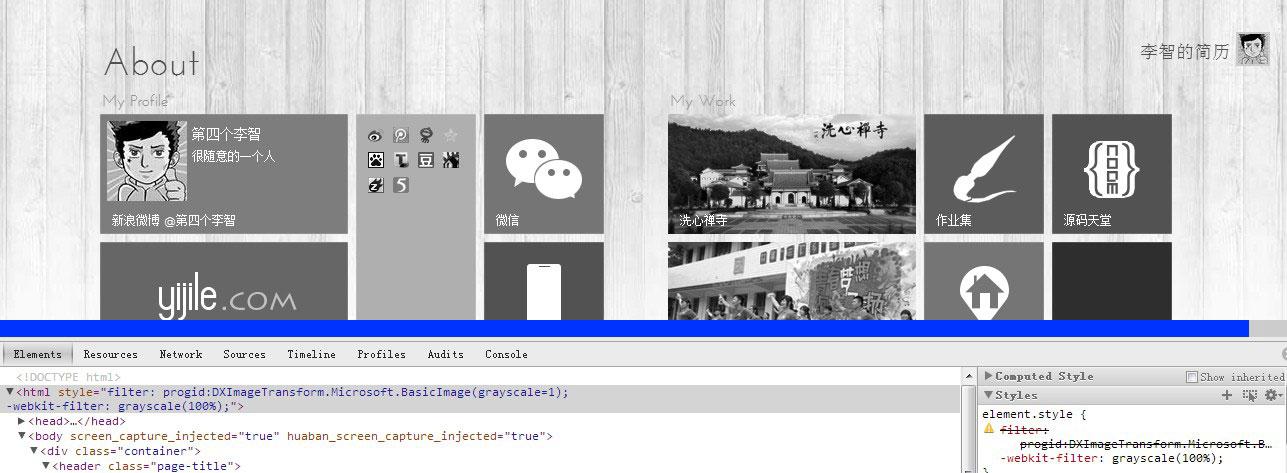 将网页转变成黑白灰色调的css代码